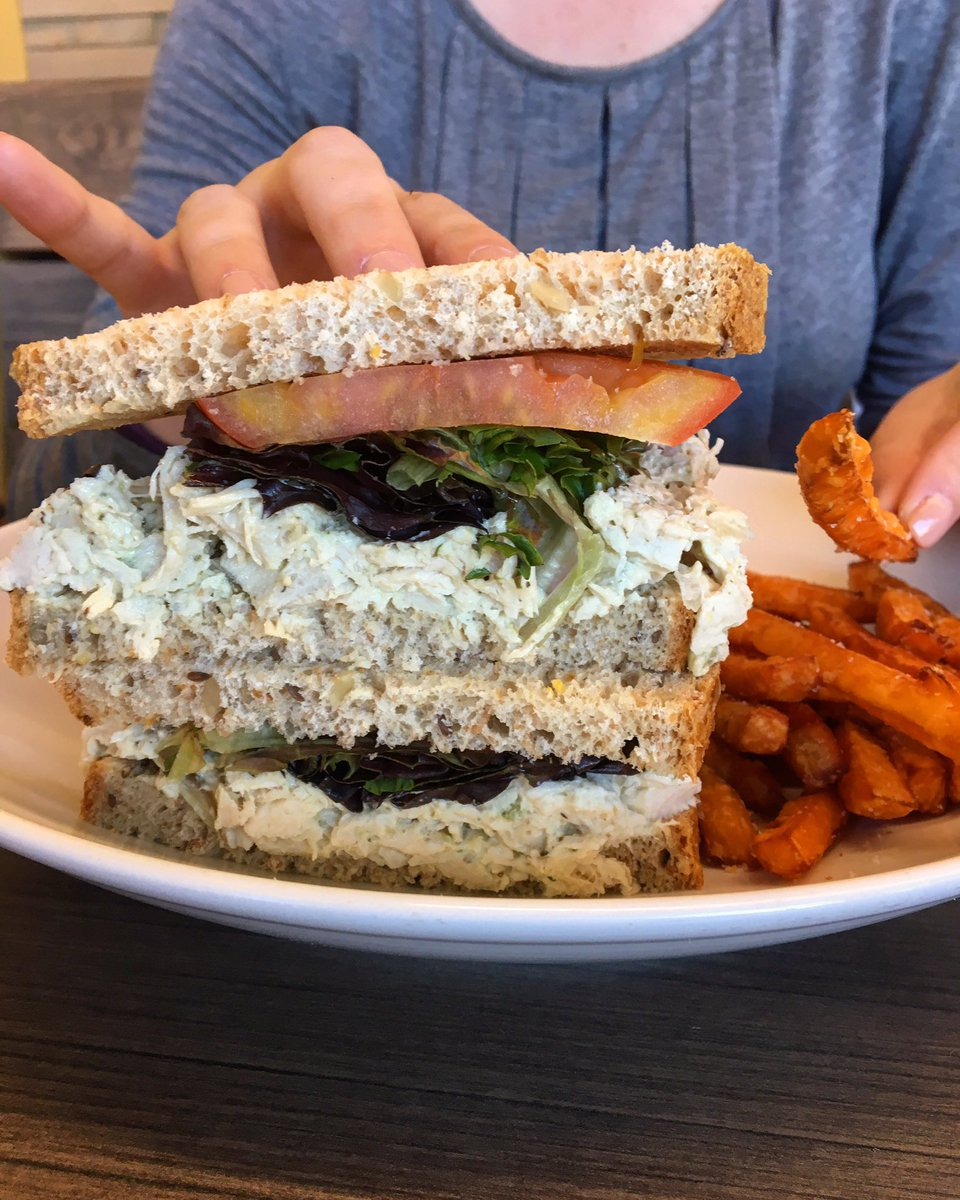 Pinkies up for the @TwoChefsCafe chicken salad sandwich. #pinkiesup #chickensalad #greenvillesc #yeahTHATgreenville #greenville360<br>http://pic.twitter.com/jeHroXlwqT &ndash; bij Two Chefs Cafe &amp; Market