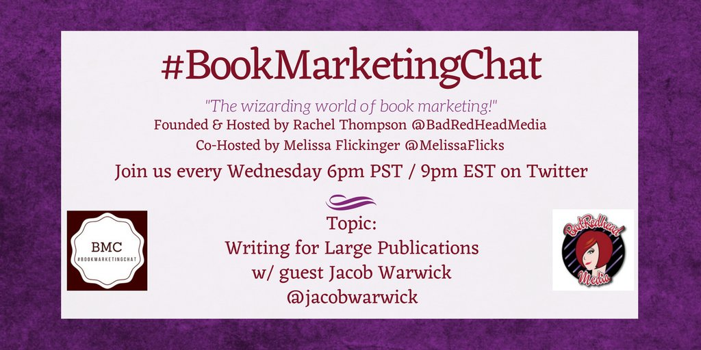 #BookMarketingChat starts in 15 mins! We're chatting w/ @jacobwarwick tonight  @BadRedheadMedia @BkMarketingChat https://t.co/NEHZoSj5d5