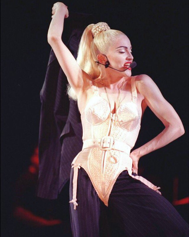 #Madonna decked in #Gaultier for the opening number of her #BlondAmbition tour in 1990: Express Yourself! <br>http://pic.twitter.com/9ofeE2nDXU