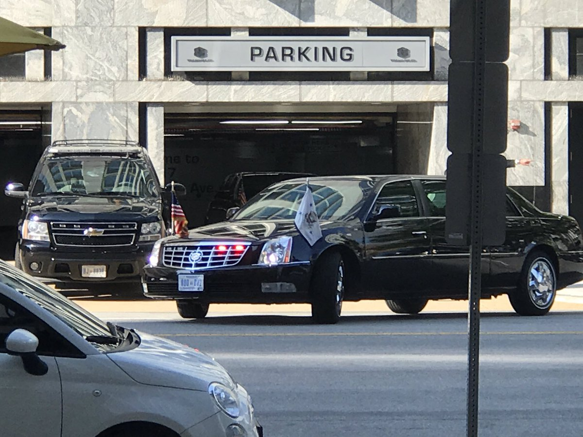 Vice Presidential motorcade has shut down Penn. Ave. by HuffPost office. Law firm with close ties to Mike Pence has office in the building.