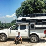 Logan and his co-pilot, Maddix, are packed up and ready to head back to Colorado in their brand new Capri Camper! #Colorado #NissanFrontier