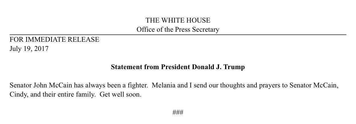 Short statement from Trump on McCain https://t.co/rCsEvzHCXB