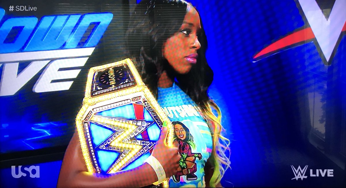 Based on @NaomiWWE tshirt I'd say she's one unicorn away from being the newest member of #NewDay #SDLive <br>http://pic.twitter.com/2eDlZIaO1E