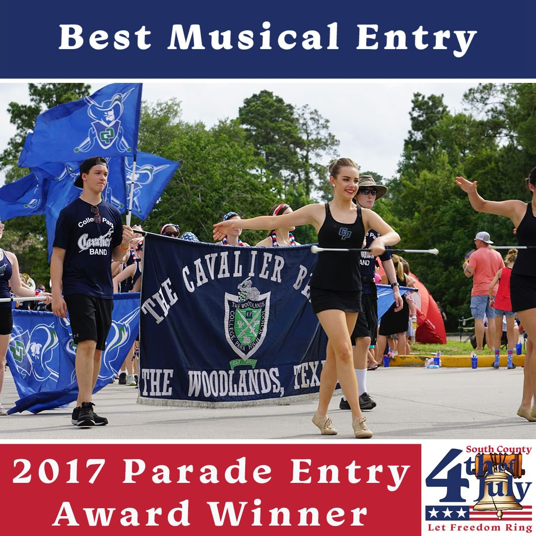 #TheWoodlands4th of July #Parade Entry #Award: Best Musical Entry to @CollegeParkHS Band #TheWoodlands #4thofJuly Photo © @WoodlandsStuCtr<br>http://pic.twitter.com/seid7aQtfU