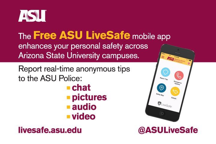 Arizona State University Police Department On Twitter Download - Map your walk app