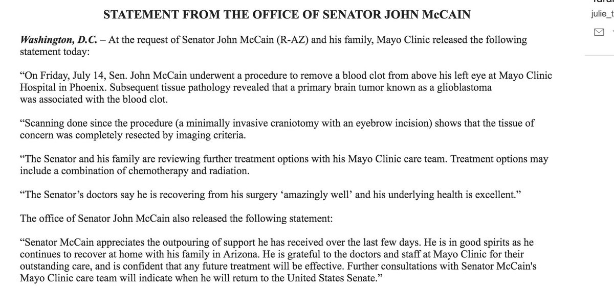 Per his office, John McCain had a cancerous tumor in his brain removed last week