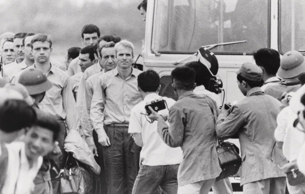 John McCain after release from more than five years imprisonment by North Vietnamese, 1973:  #USNavy