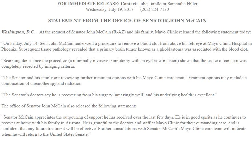 BREAKING: Senator John McCain has been diagnosed with brain cancer.