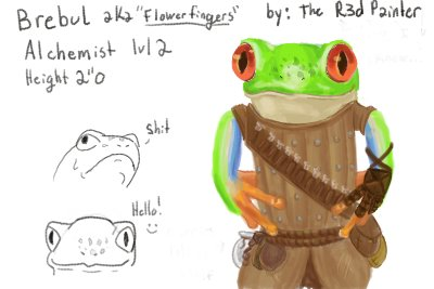 My pathfinder character. I drew this when I was chatting with a good friend of mine. #pathfinder #frog #frogs<br>http://pic.twitter.com/i7gltIUTxc