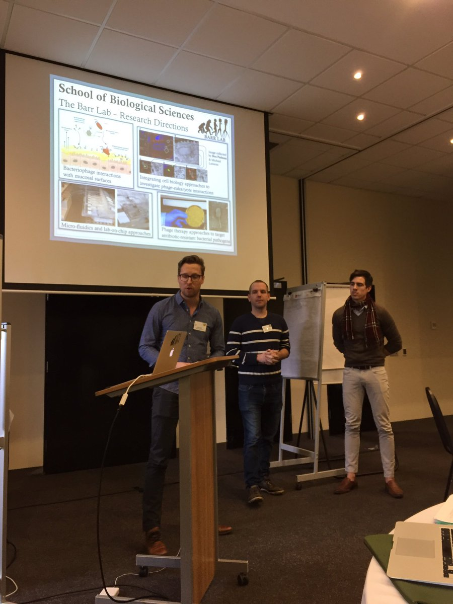 Drs Jeremy Barr, Chris Greening and Mike McDonald telling us about  microbiology @Monash_Science SOBS @micromonash #researchstrategy <br>http://pic.twitter.com/qGid5wSbnG
