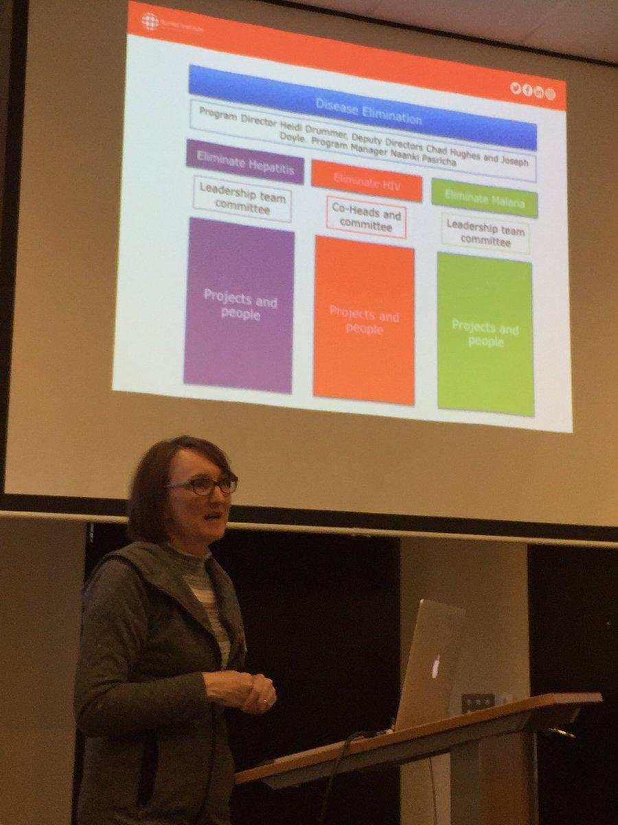 Prof Heidi Drummer @BurnetInstitute explaining the disease elimination initiative to @micromonash #researchstrategy @Monash_FMNHS<br>http://pic.twitter.com/F7rSE29Tmn