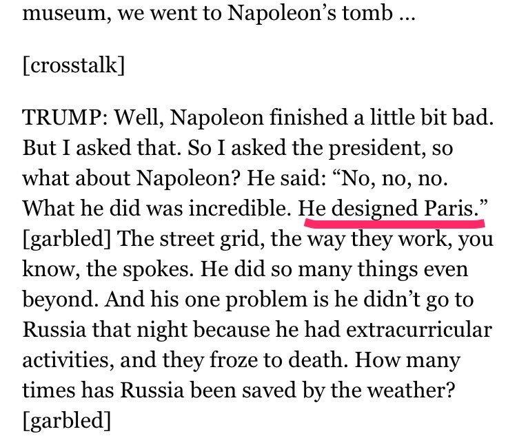 Trump au NYT: '[Macron] m'a dit : Napoléon a dessiné Paris'. WTF? Ils n'étaient pas devant le tombeau de Napoléon III, pourtant...