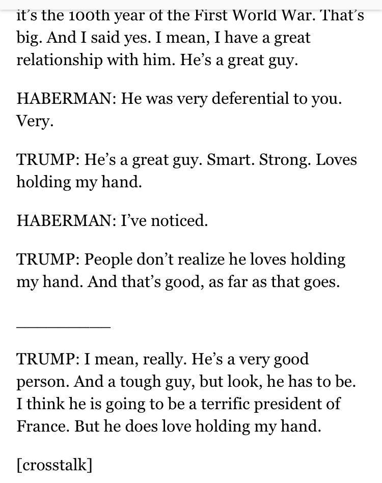 Trump : 'Macron est un type super. Il aime tenir ma main'.