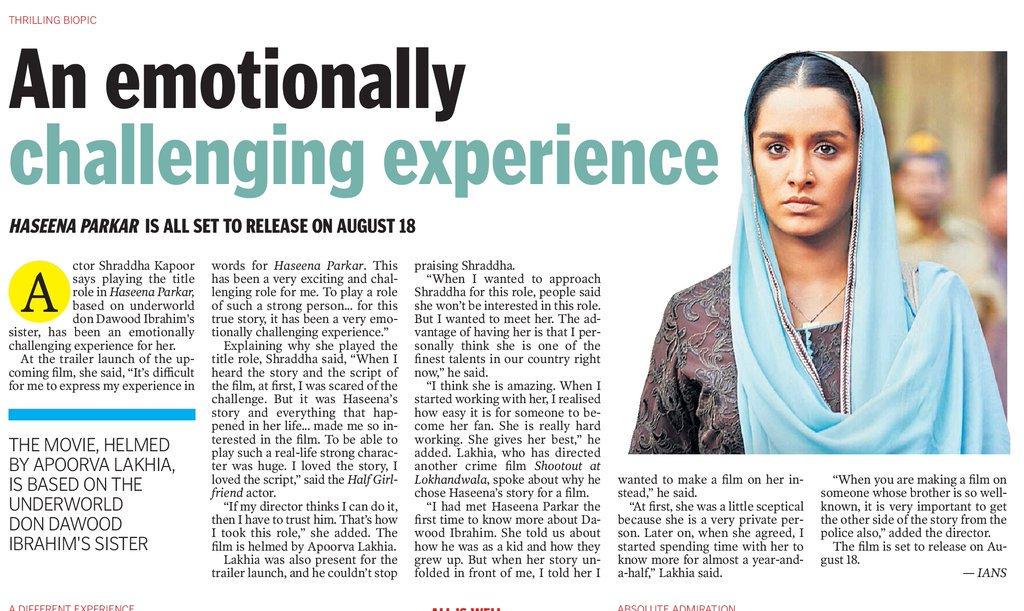 [SCAN]: An emotionally challenging experience! @ShraddhaKapoor @haseenamovie