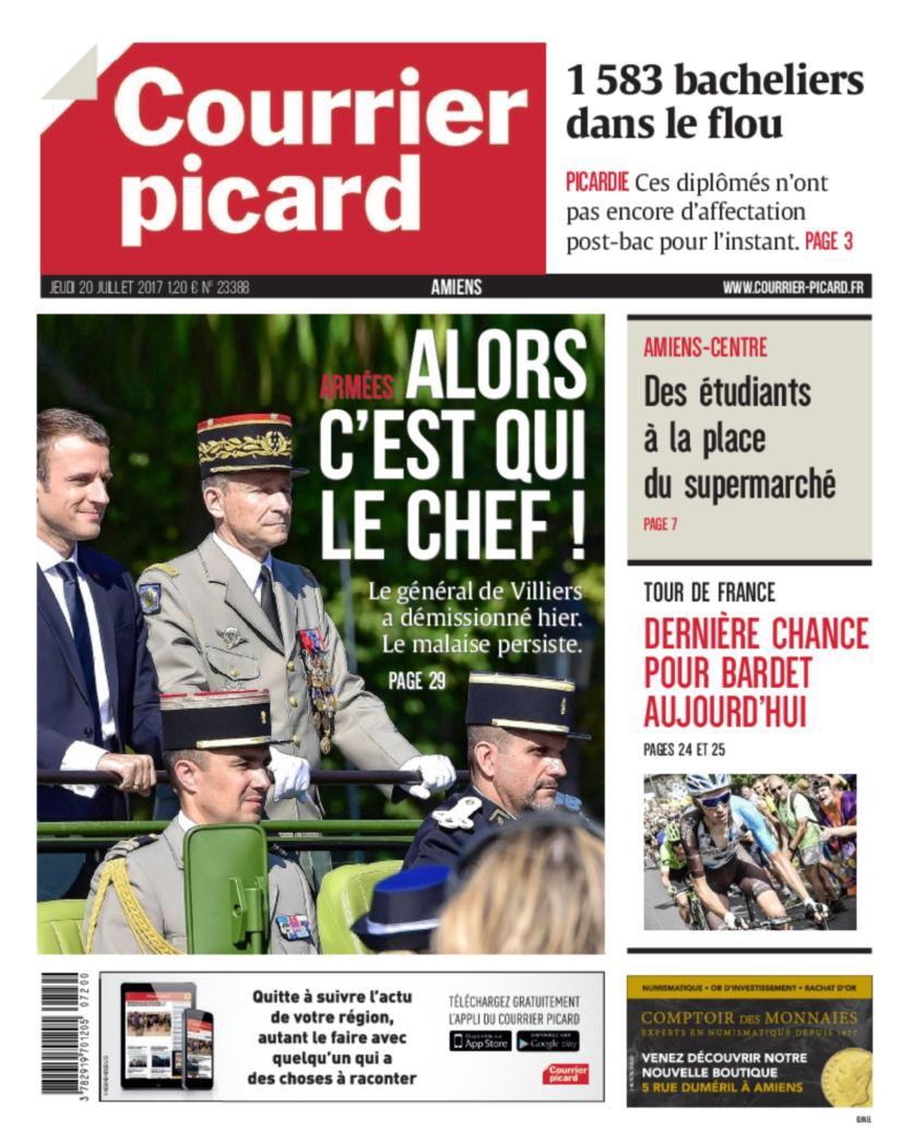 Macron et l'armée à la une ce matin.