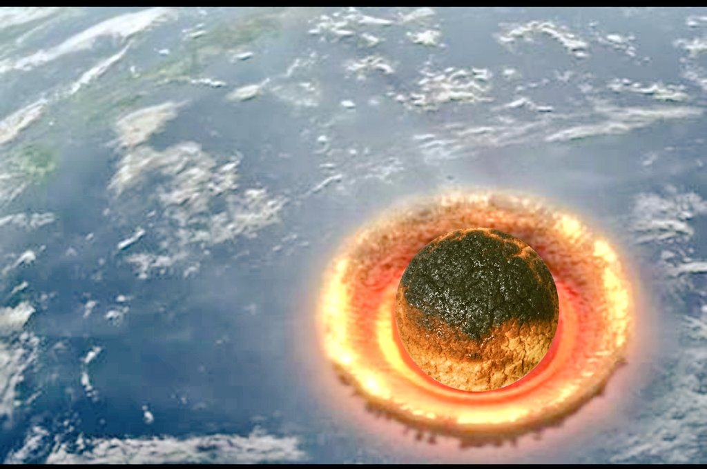 やばいめっちゃ笑えるwwメロンパンをオーブンで焼いたら焦げたので隕石にしてみたww