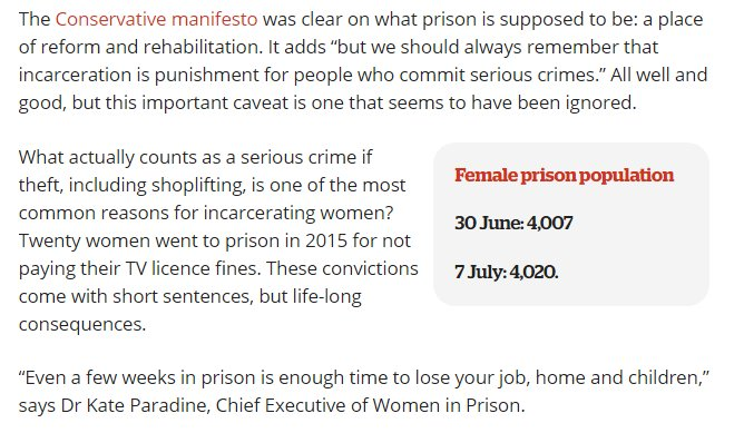 Suicide is the most common cause of death for women in prison. Most women in for non violent crimes. https://t.co/fkO62jKRGt