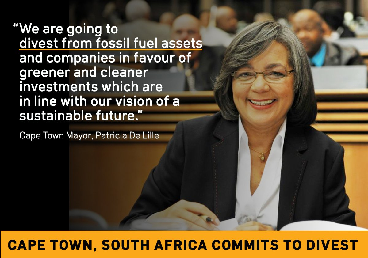 HUGE MILESTONE! The city of #CapeTown(@CityofCT) has committed to #divest from #fossilfuels. #fossilfree  http:// bit.ly/2uFatI4  &nbsp;  <br>http://pic.twitter.com/zVkOLZIY3f