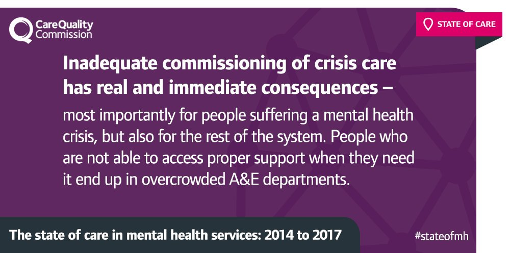 #StateofMH found gaps in the provision of #MentalHealth crisis care: https://t.co/fO7lDb7V93 via @CareQualityComm https://t.co/yeO6N21xe3