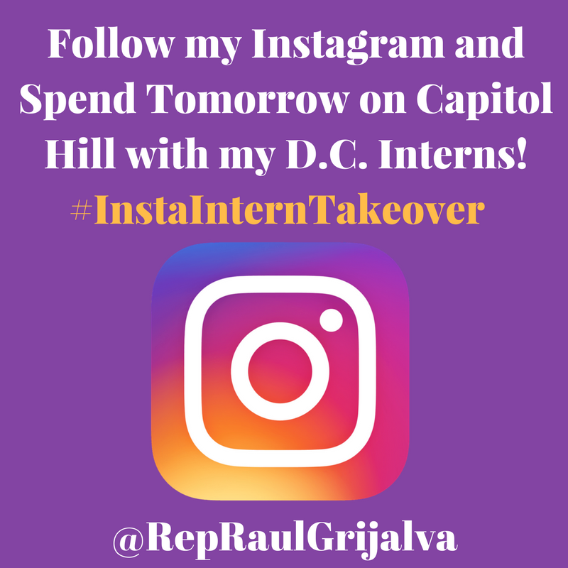 Follow my Instagram and spend tomorrow on Capitol Hill w/ our D.C interns! #InstaInternTakeover #AZ03