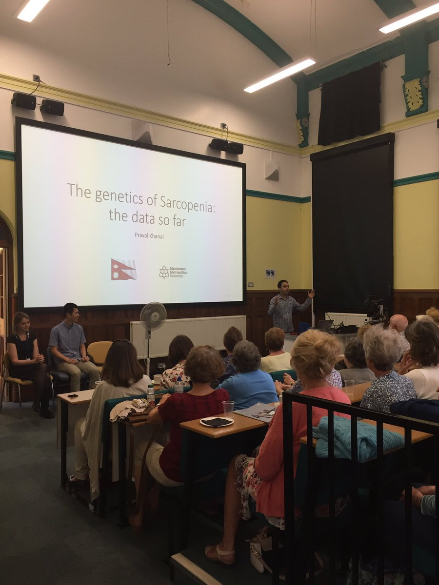 Great public engagement event by Dr Chris Morse &amp; team, speaking to 120 people about ageing effects. #research @MMU_Cheshire @RKECheshire<br>http://pic.twitter.com/OkQrjzEIe3