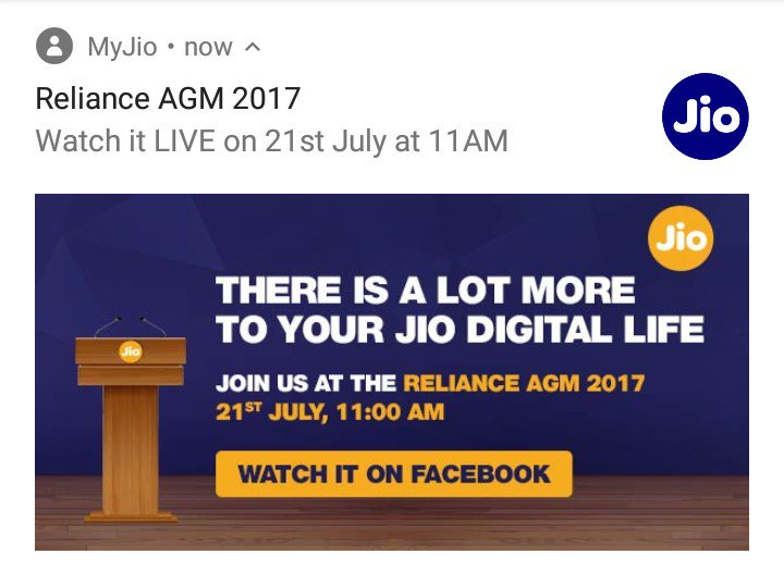 #RelianceAGM live on #Facebook 11:00am #India.. &quot;There is lot more..&quot; #RelianceJio #Jio4G #VoLTE @reliancejio #androiddev #pixelart #gamedev<br>http://pic.twitter.com/XJlbjOA15a