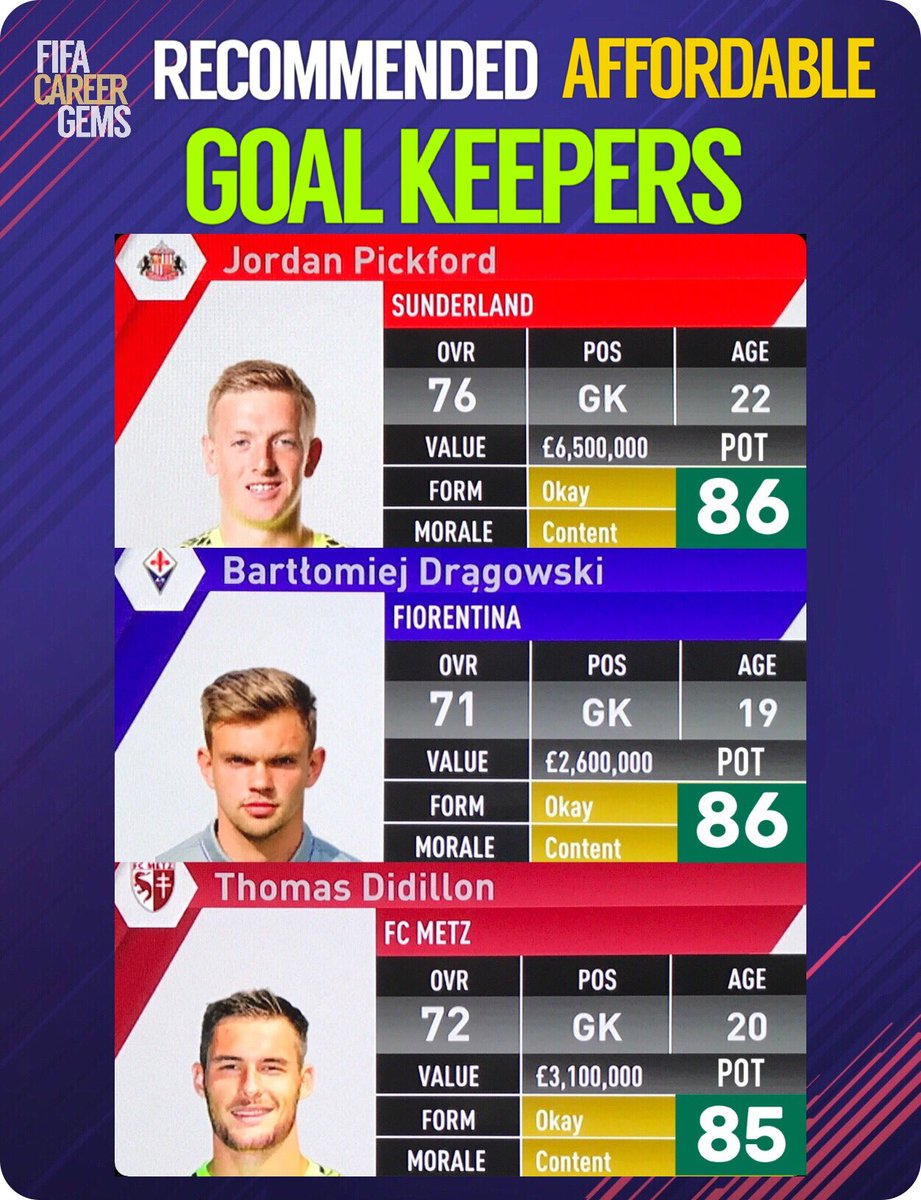 RECOMMENDED. AFFORDABLE. GOAL KEEPERS. #FIFA17 <br>http://pic.twitter.com/4OYxaTZaRd