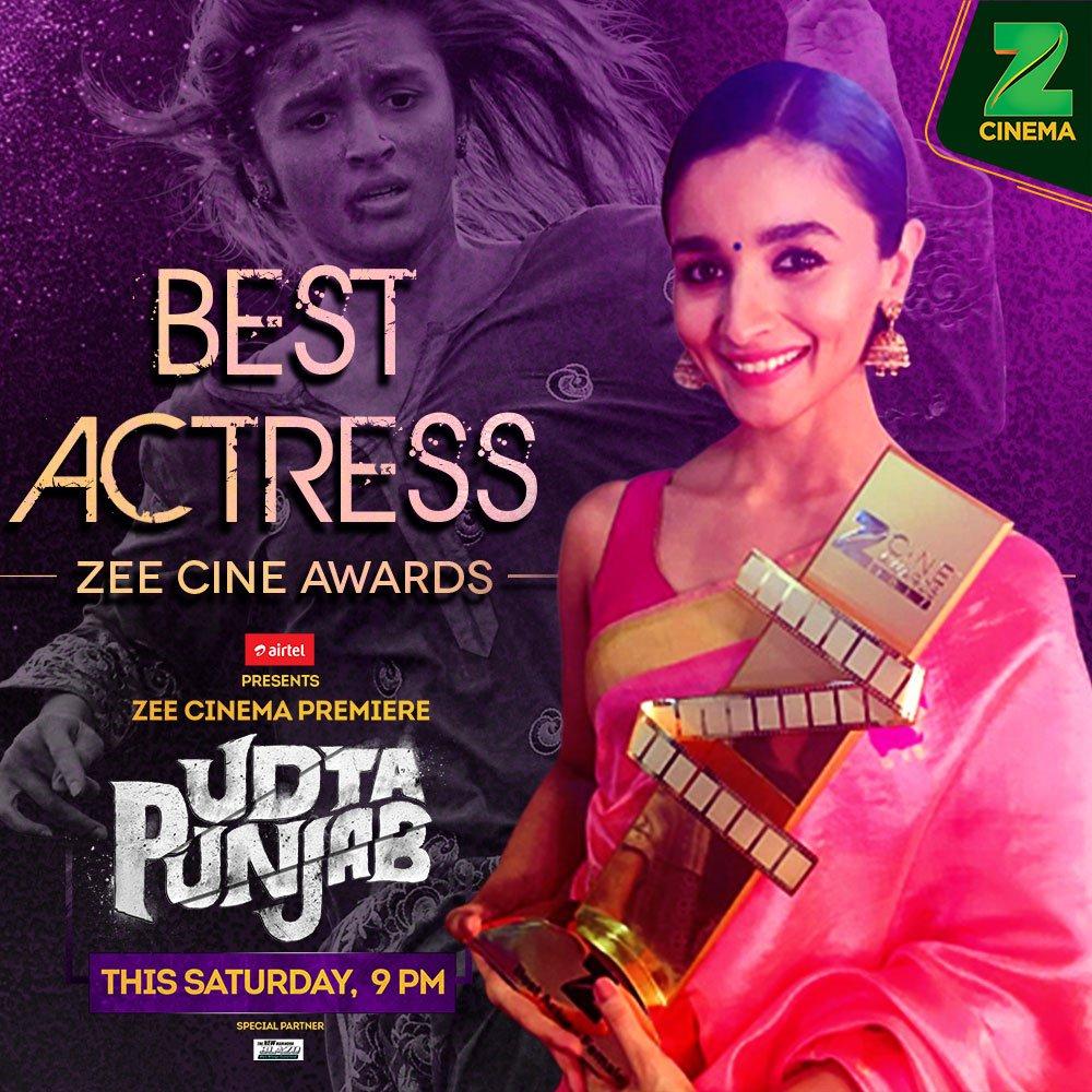 Catch @aliaa08&#39;s award winning performance in the Zee Cinema Premiere of #UdtaPunjabOnZeeCinema, Sat, 9 PM @ZeeCineAwards #AliaBhatt <br>http://pic.twitter.com/S5yWRnTkrw