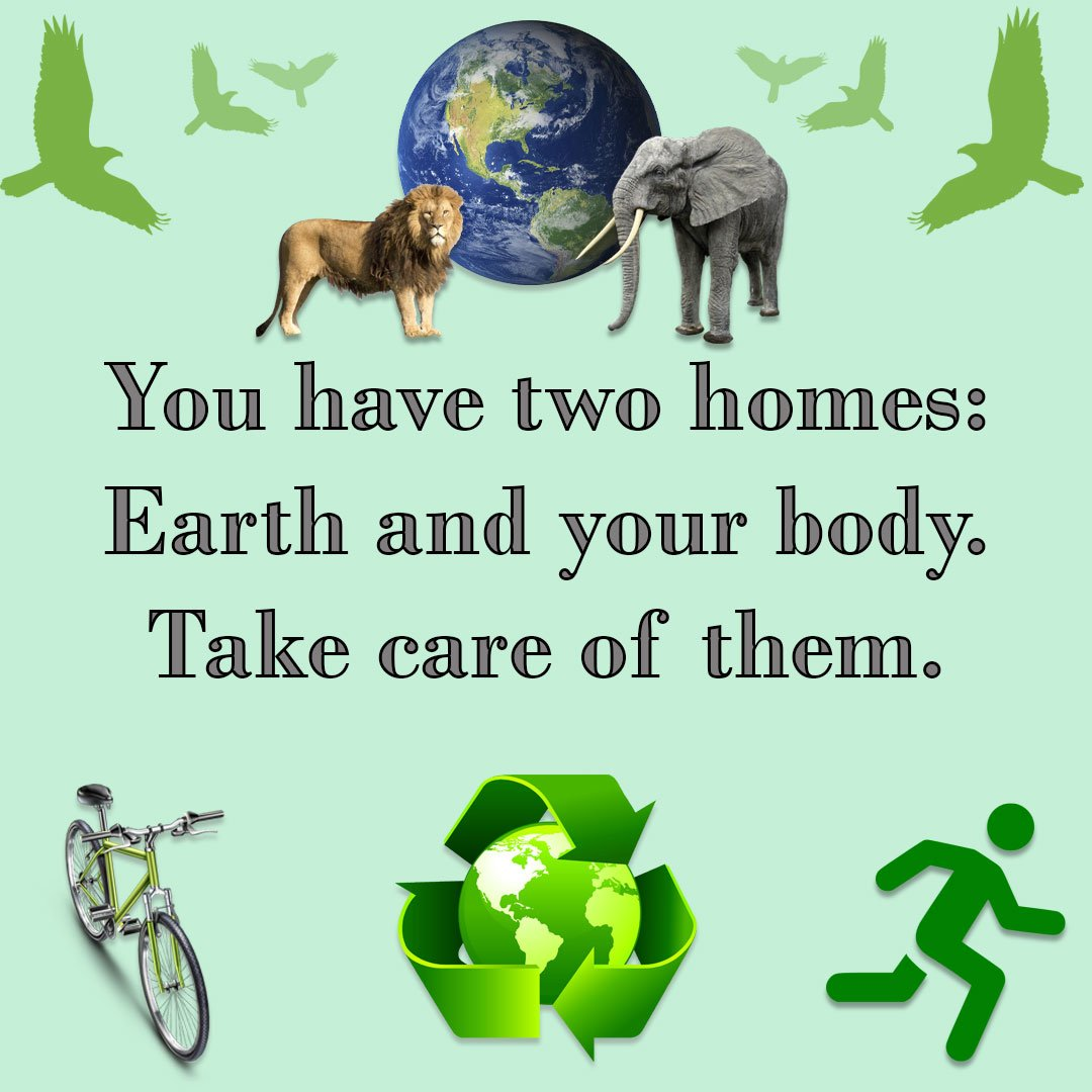 You have two homes: #Earth &amp; your #body. Take care of them. #plants #animals  #water #energyefficiency #Recycle #exercise #meditation #love<br>http://pic.twitter.com/7JkxZ0DHb5