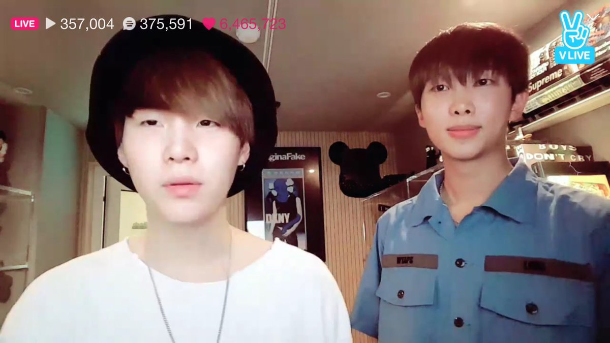 Namjoon was in Vlive and Yoongi appeared there, then a good day with #Sugamon ♡