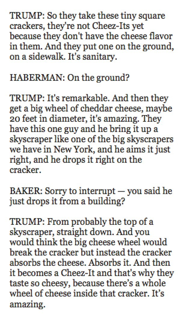 Wow. Trump's answer on Cheez-Its is... something.