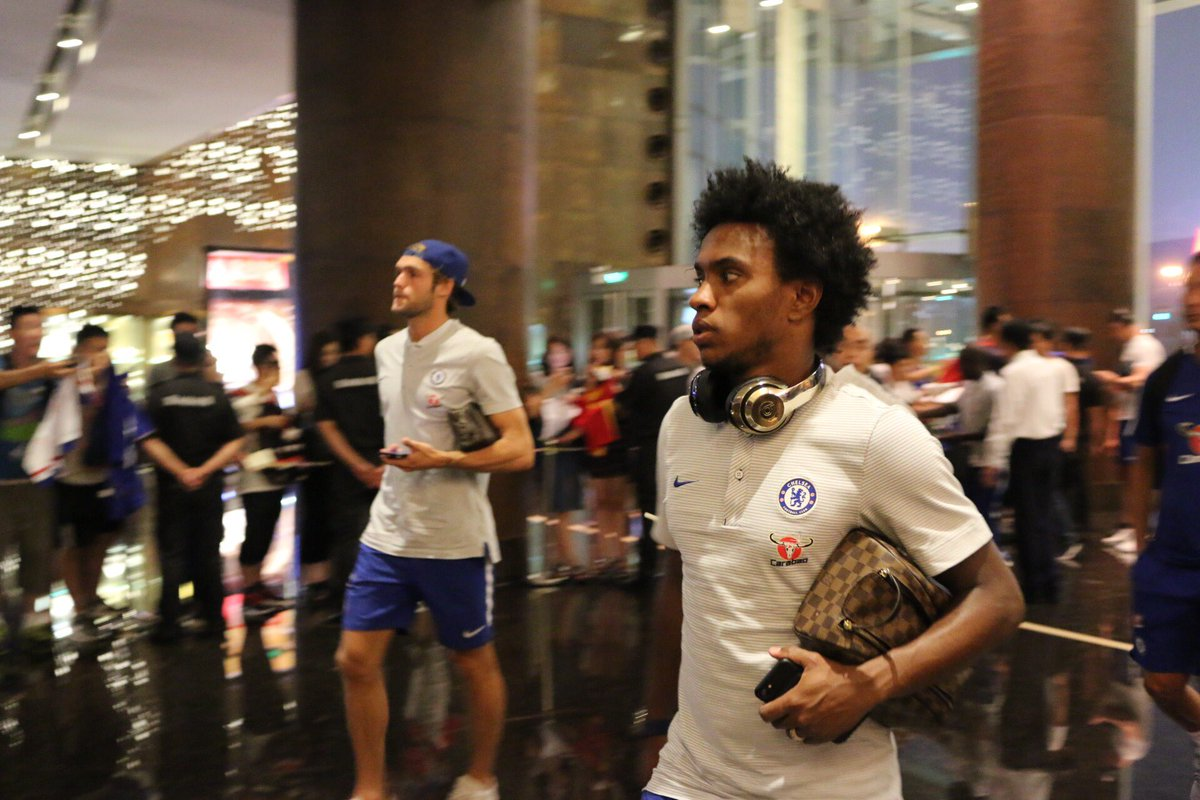 The squad have returned to the hotel after a tough day\'s training in Beijing... #CFCTour