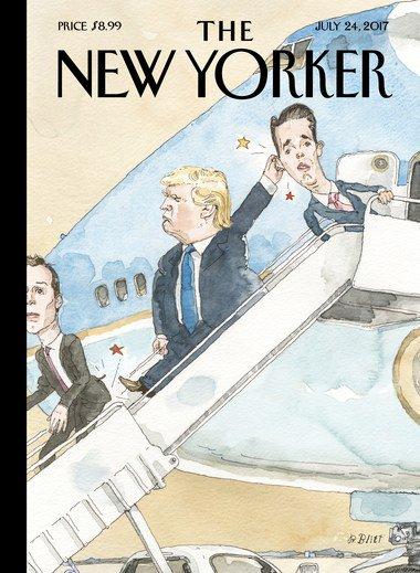 Donald Trump corrigeant son fils et Jared Kushner en couverture du 'New Yorker'.