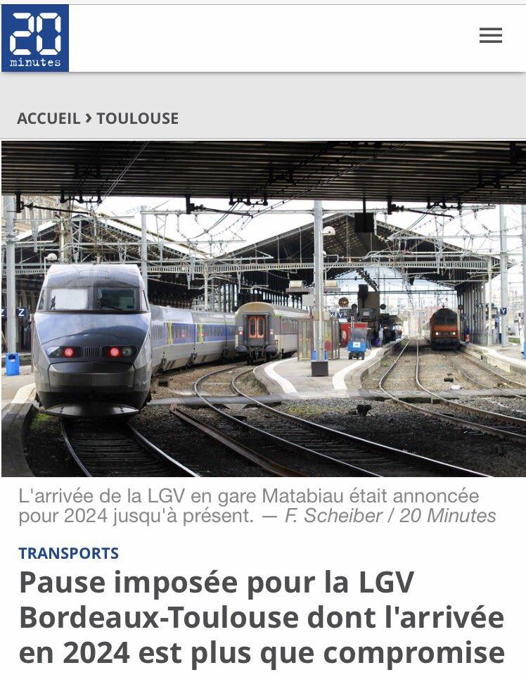 Le projet de #LGV ne peut plus attendre ni être retardé ! #Toulouse doit être relié par #TGV à #Paris !