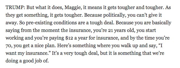 Guys, Trump thinks health insurance costs $1/month but you save it up and by the time you are 70 you 'get a nice plan'   HE'S THE PRESIDENT