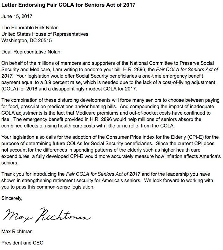 Letter Endorsing Fair COLA for Seniors Act of 2017: https://t.co/vo1nVpCgzE #SocialSecurity https://t.co/2eokL7Kj05