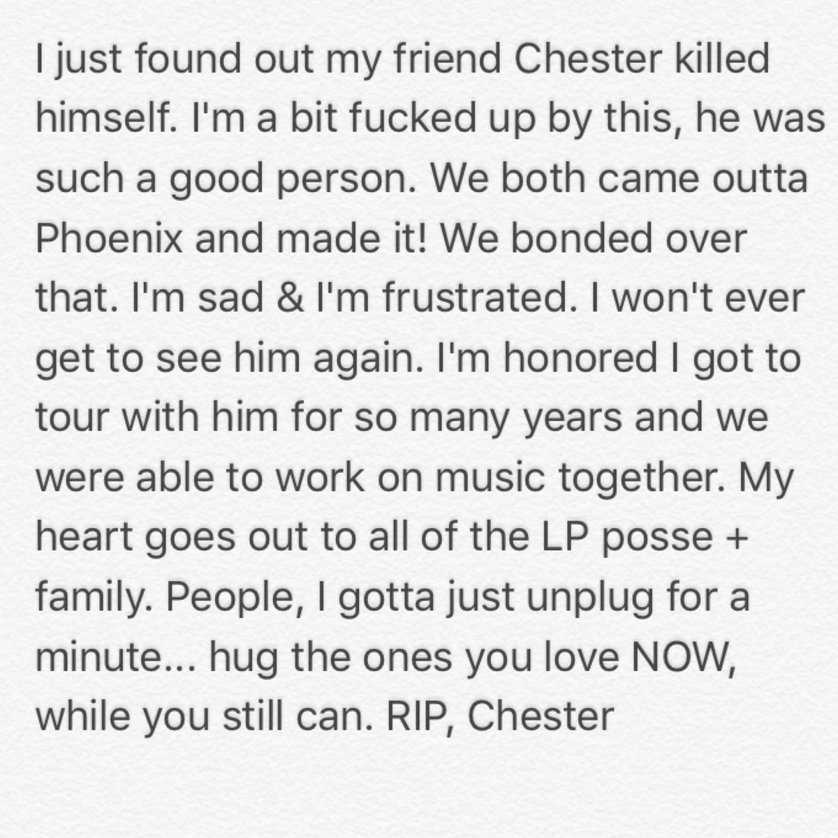 #RIP #ChesterBennington #LinkinPark https://t.co/83UJdadgVs