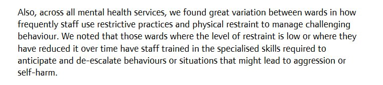 In fact, research shows - & #StateofMH acknowledges - it's STAFF, not patients, who influence levels of coercion & containment on wards. https://t.co/4dTO45bGT2