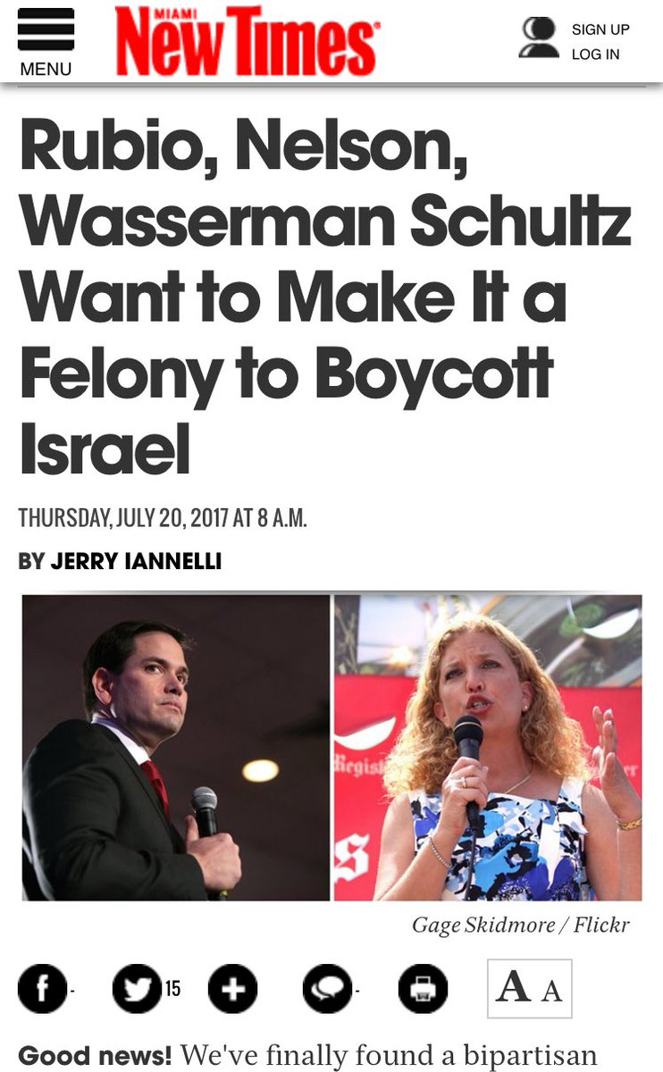 Wow! @DWStweets is teaming up w/@marcorubio to take away First Amendment rights    http://www. miaminewtimes.com/news/marco-rub io-bill-nelson-debbie-wasserman-schultz-want-to-criminalize-boycotting-israel-for-human-rights-violations-9507884 &nbsp; …  #BadDem #ThursdayThoughts <br>http://pic.twitter.com/4dhAjvhZNy