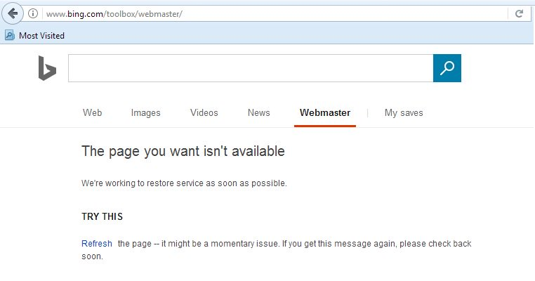Hey @bing issues in #webmastertool and page does not working? How can I rely or move to #Google #SearchConsole? @Microsoft @MicrosoftHelpt<br>http://pic.twitter.com/K8gw1rLD0H