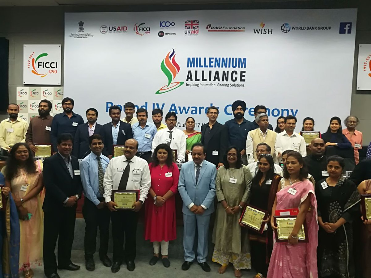 #MillenniumAlliance ceremony concluded by awarding 24 #socents with Rs 8 Crore @ficci_india @usaid_india @tdbgoi @UKaid @WorldBank<br>http://pic.twitter.com/XjEWq8eXgj