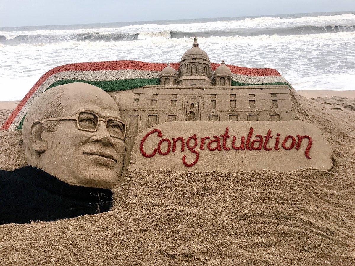 Heartiest Congratulations to #RamNathKovnid ji on his election as India&#39;s 14th #President. My SandArt at #Puri beach in Odisha.<br>http://pic.twitter.com/Xb1KVm9EC6