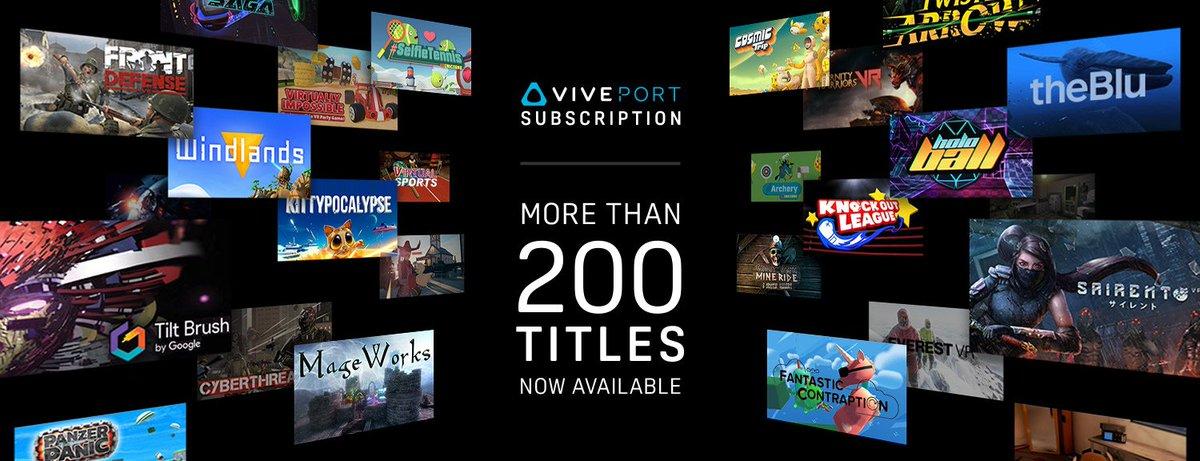 #ViveportSubscription now has over 200 titles available: https://t.co/fLsZbnjkSH