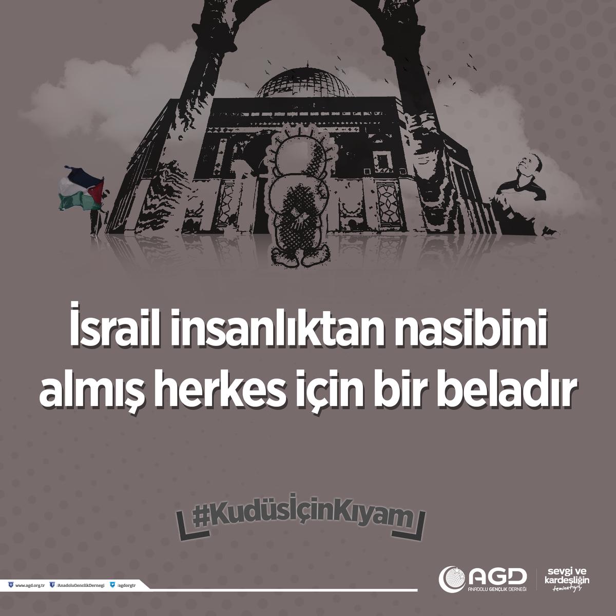 İsrail insanlıktan nasibini almış herkes için bir beladır #KudüsİçinKı...
