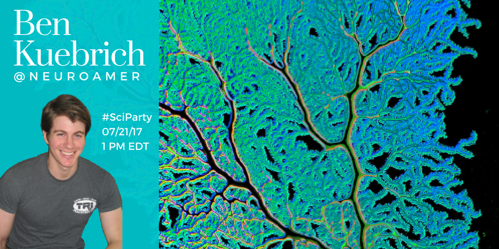 Join us tomorrow for a killer #SciParty featuring Ben Kuebrich @neuroamer. Topics include #scicomm, podcasting, #lablife, MD/PHD &amp; more!<br>http://pic.twitter.com/nrSJmH4cK8