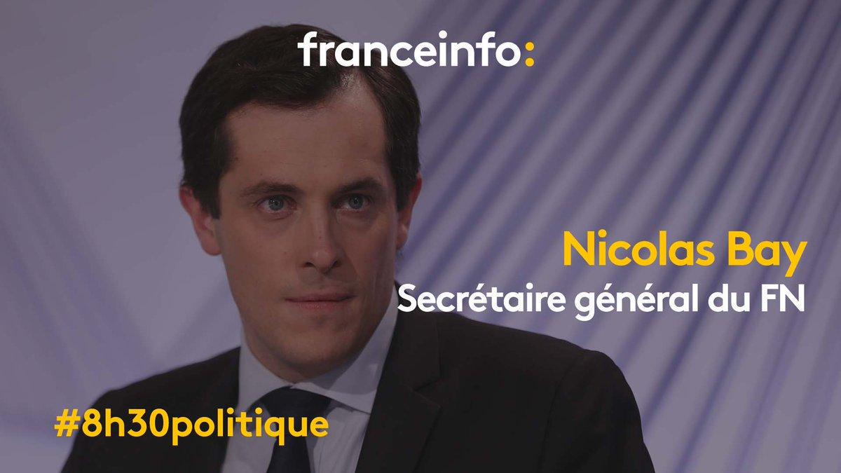 Demain matin, Nicolas Bay, secrétaire général du Front national, sera l'invité du #8h30politique sur #franceinfo 📺 📻