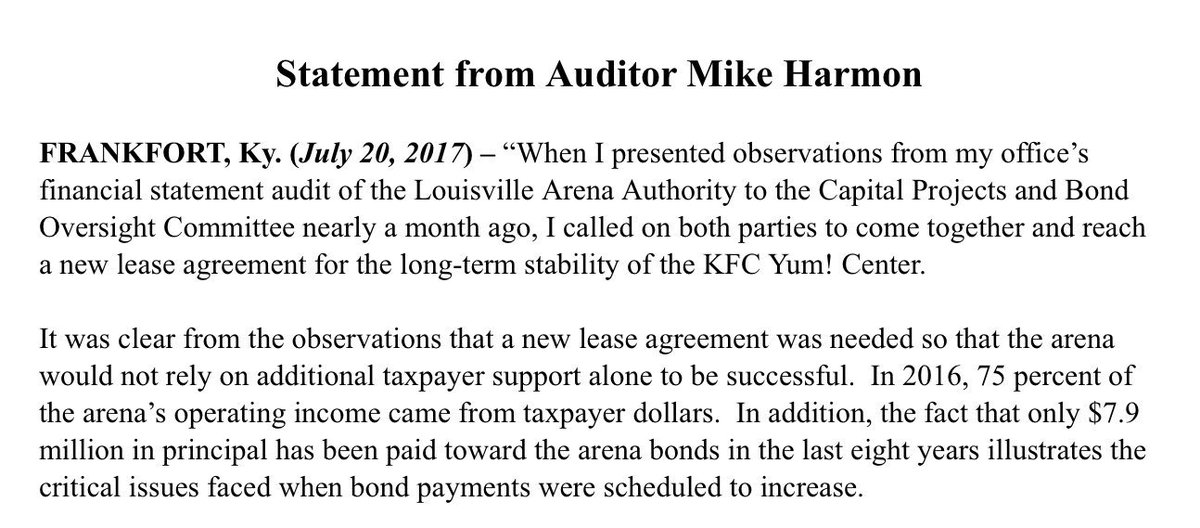 Auditor Mike Harmon On Twitter My Statement On Todays Agreement