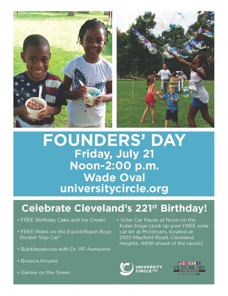 University Circle On Twitter Celebrate Clevelands Birthday Tomorrow Wade Oval 12 2pm With FREE Cake Ice Cream Games And More
