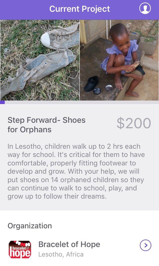 Our project- Step Forward, shoes for orphans is up on the @givesome_gives app! You can donate $2, $5 or $10 to make a difference! #lesotho <br>http://pic.twitter.com/G4QdaGyQHg