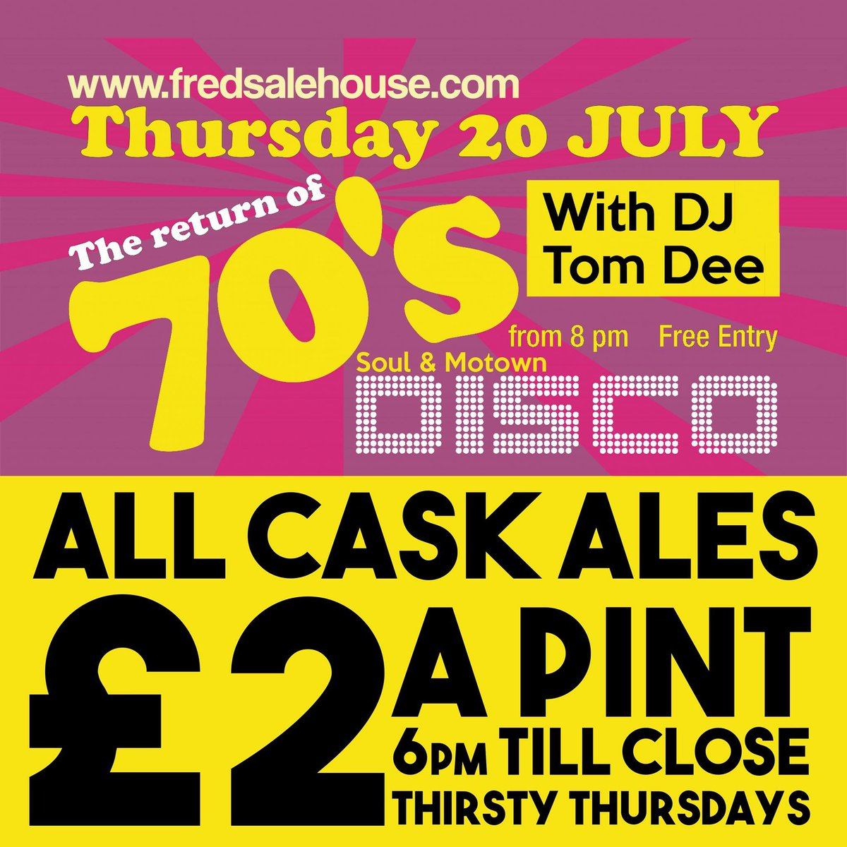 Every Thursday in July &amp; Aug its #70s #Motown #Soul Disco with Tom Dee in secret basement @LevFred #RealAle #Cider just £2 a pint<br>http://pic.twitter.com/PgcKOiFvMh